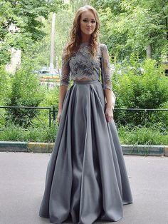 Two Pieces Abiballkleider/Abendkleider Halbe Sleeve Applikation lange Abendkleider #liebekleider #festkleider #abendmode