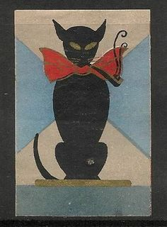 Old Matchbox Label Japan black cat Zoo 2, Neko, Vintage Fireworks, Black Cat Art, Black Cats, Japanese Cat, Vintage Japanese, Matchbox Art, Cat Posters