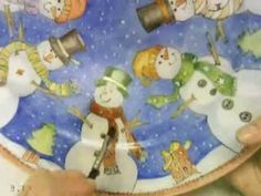 Painting a porcelain platter in the pen work technique. Snowmen subject. Takes you from the concept, drawing to the finished painted 3 fired piece.