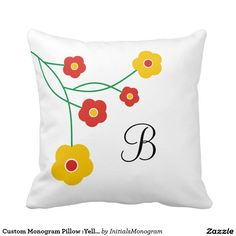Custom Monogram Pillow :Yellow And Red Flowers