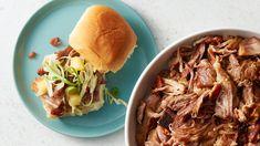 Instant Pot™ Kalua Pork Sliders with Pineapple Slaw Recipe Instant Pot Pressure Cooker, Pressure Cooker Recipes, Best Potluck Dishes, Pork Recipes, Cooking Recipes, Kalua Pork, Pork Sliders, Main Dishes, Dinner Recipes