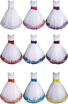 High Quality Flower Girl Dress Pageant Easter Wedding Formal Bridesmaid - USA #Dress