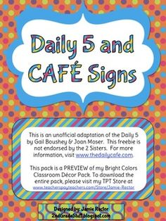 Brighten up your classroom with these Daily 5 and CAFE headers in bright colors - FOR FREE!This is an unofficial adaptation of the Daily 5 by G...