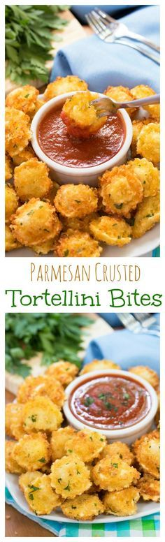 Parmesan Crusted Tortellini Bites: Parmesan crusted cheese-filled tortellini dipped in warm marinara sauce