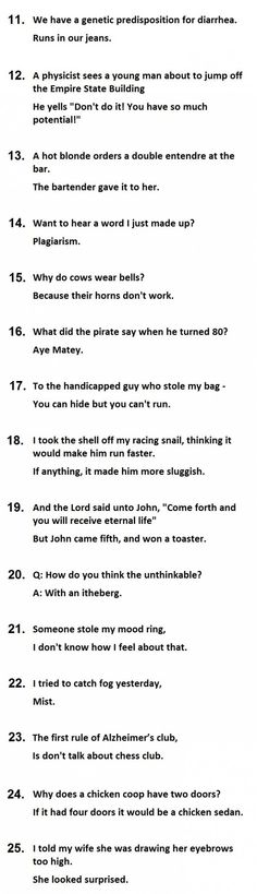 very funny one liner jokes