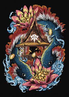Jeff Aphisit on Behance Textile Design, Design Art, Small Girl Tattoos, Freelance Illustrator, Urban Art, Cat Art, Surface Design, Oriental, Character Design