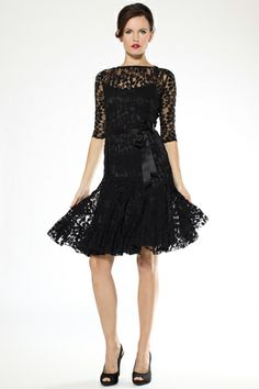 Teri Jon - Black Lace Cocktail Dress with Sleeves