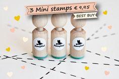 3 Mini Stempels naar keuze uit meer dan 70 door MissHoneyBird, €9.95