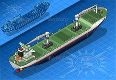 Isometric Cargo Ship Isolated in Rear View