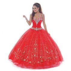 2016 Red Quinceanera Dresses Ball Gown Sweetheart Neckline Off The Shoulder Sequin Crystal Beading Floor Length Debutante Dress  https://www.aliexpress.com/store/product/2016-Red-Quinceanera-Dresses-Ball-Gown-Sweetheart-Neckline-Cap-Sleeves-Sequin-Crystal-Beading-Floor-Length-Debutante/1035034_32738543967.html