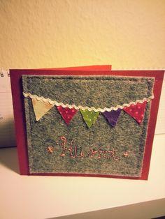 Glückwunschkarte (mit Filz und der Nähmaschine)