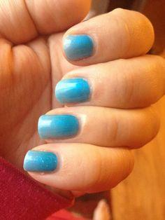 My nails CND shellac ombré azure wish and pigment David Anthony Salon and spa Ofallon MO @Kristi Calhoun @alisamarie222