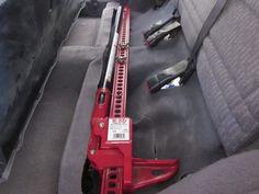 Hi-Lift mounted under rear seat #jeep #xj