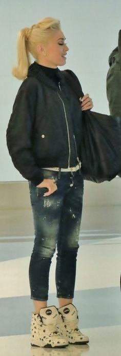 Gwen Stefani: Purse – Chanel  Jacket – Noir Kei Ninomiya  Shoes – Adidas  Jeans – Dsquared2