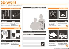 Storyworld Template. Use this to help describe the user and their world. This method helps bring into view the detail and complexity of a person's life-world. Creating a storyworld or persona helps a team focus on the people who are part of a service in all their diversity. The process of creating and using storyworlds also encourages the kind of creative thinking needed to generate new ideas for your service…