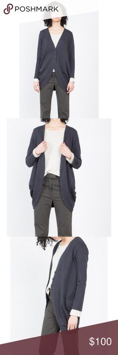 Prairie Underground Spare Change Cardigan In excellent condition, oversized cardigan with rounded hem and back gathers for draping. Made from 100% Organic Cotton French Terry and Made in Seattle. The color is a washed out Navy. Prairie Underground Sweaters Cardigans