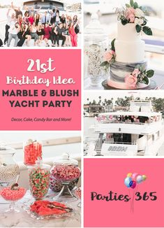 This Birthday Party on a yacht is sure to inspire your next milestone birthday party! With a marble and blush theme, this party was filled with modern decorations and elegant details - a lovely theme for any event or party! First Birthday Cakes, Birthday Bash, Birthday Parties, Theme Parties, Milestone Birthdays, First Birthdays, 21st Bday Ideas, Birthday Ideas, Elegant Birthday Party