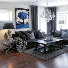 34 Ideas Living Room Decor Black Couch Classy 34 Ideen Wohnzimmer Dekor Schwarze Couch Nobel This image. Dark Living Rooms, Elegant Living Room, Living Room Grey, Living Room Modern, Living Room Sofa, Living Room Interior, Home Living Room, Small Living, Black And Silver Living Room