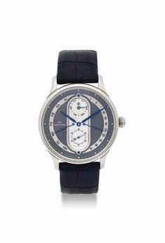 Jaquet Droz. A rare 18K white gold automatic bi-retrograde perpetual calendar wristwatch. circa 2005. #watch #ChristiesWatches