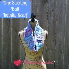 Free crochet pattern: One Swirling Ball Infinity Scarf by American Crochet
