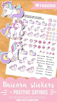 FREE Cute unicorn stickers + positive sayings for your planner - Free printable stickers and silhouette cut files.