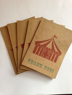 Big Top Tent Circus Thank You Cards Vintage Circus by PaperFever, $10.00