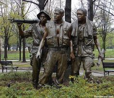 The Three Servicemen Statue at the Vietnam Veterans Memorial in Washington D.C. The statue by Frederick Hart was placed near the Wall in late 1984.