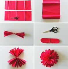 40 Awesome diy paper flowers step by step images Paper Flower Wreaths, Tissue Paper Flowers, Paper Flower Backdrop, Origami Flowers, Diy Flowers, Unique Flowers, Book Flowers, Paper Rosettes, Flower Diy