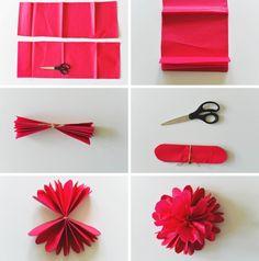 bricolage facile d'une fleur rose étape par étape