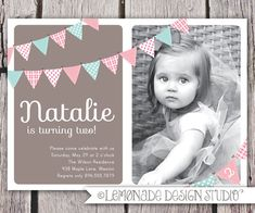 Items similar to First Birthday Invitation Bunting Flags Banner Photo Printable Invite - Baby Blue and Red - 1 Year Old or 2 Year Old - Second Birthday on Etsy 2 Year Old Birthday, First Birthday Parties, Girl Birthday, First Birthdays, Birthday Ideas, Birthday Bunting, Kid Parties, Rainbow Birthday, Ideas