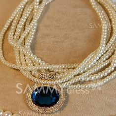 $5.69 Sweet Gemstone Embellished Multi-Layered Faux Pearl Chain Necklace For Women