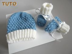 Hat and slippers baby set 1 m knitted Handmade wool ecru and blue, bb boy, unique creation, knit baby loveys, to order Knitted Hats, Crochet Hats, Ecru Color, Baby Knitting, Creations, Winter Hats, Beanie, Etsy, Stitch