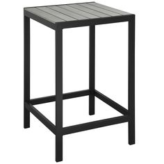 MAINE OUTDOOR PATIO BAR TABLE IN WHITE LIGHT GRAY