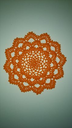 Japanese Dahlia Doily made with Aunt Lydia's size 10 in Pumpkin