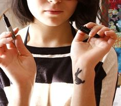by Anna Maria Horner via creature comforts Bunny Tattoos, Rabbit Tattoos, Small Tattoos, Cool Tattoos, Tatoos, White Rabbit Tattoo, Anna Maria Horner, Creature Comforts, Matching Tattoos
