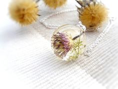 Necklace dried flowers sphere transparent lens real flower necklace herbarium botanical jewelry pressed wild forest flower