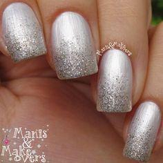 Html cute nails, my nails, prom nails, pretty nails, . Silver Nails, Blue Nails, Silver Glitter, Bridal Nails, Wedding Nails, Bridal Pedicure, Wedding Makeup, Bling Wedding, Hair And Nails