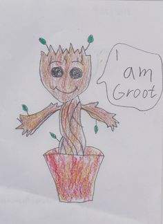 My version on Baby Groot- Guardians of the Galaxy vol 2 Guardians Of The Galaxy Vol 2, Groot Guardians, Baby Groot, Art, Art Background, Kunst, Performing Arts, Art Education Resources, Artworks