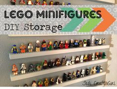 Would be a cute way to store Littlest Pet Shops, too!!!! (DIY Lego Minifigure Storage Shelves Tutorial)
