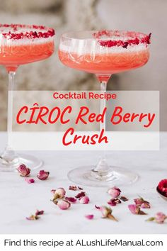 Make this pretty cocktail for Valentine's Day and any other day you want to feel in the pink. Cîroc Red Berry Vodka is the perfect choice for romance. Best Vodka Cocktails, The Best Vodka, Easy Cocktails, Classic Cocktails, Holiday Cocktails, Cocktail Recipes For A Crowd, Food For A Crowd, Cocktail Party Food, Lush