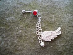 angel wing and heart belly button rings body jewelry by sindys