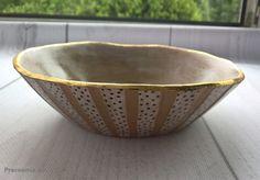 ceramic bowl , art pottery , gold , handmade Ceramic Bowls, Pottery Art, Serving Bowls, Ceramics, Tableware, Gold, Handmade, Crafts, Ceramica