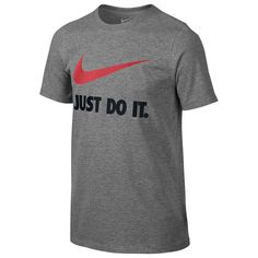 Boys 8-20 Nike Just Do It Swoosh Graphic Tee, Size: Medium, Grey Other