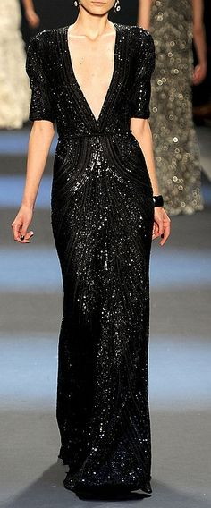 Black long sequin evening dress. I am obsessed with sequins and glitter, I know!