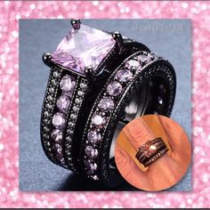 New 6.8ct Black GF & Pink Topaz RING Set Size: 6, 7, 8, 9 Material: Black Gold Filled Other: Bridal set Style: 2 in 1 ring set (Looks like 3PC ring set but it's only a 2PC) Color: Black and Pink Main Stone: Pink topaz Quantity: 1Set= 2PCS High quality in EU and US quality standard Boutique Jewelry Rings
