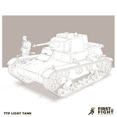 7TP Light tank FIRST TO FIGHT : September 1939 - Drawing of a 7TP light tank for my WW2 personal project.