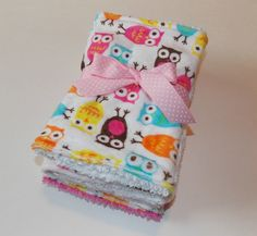 Minky Owl & Pink Burp Cloths/ Set of 4 by DarlenesNeedlesnPins
