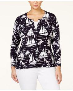 NEW 3X Charter Club Sailboat Print Cardigan Long Sleeve Plus Size #CharterClub #Cardigan
