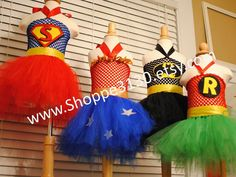 Super Hero Inspired Tutu Dress Costume for Halloween, Birthday Parties, or Dress Up Batman, Robin, Wonder woman, and Superman Inspired on Etsy, $35.00