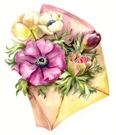 Watercolor Artwork, Watercolor Illustration, Watercolor Flowers, Decoupage Vintage, Vintage Paper, Arte Fashion, Flower Drawing Tutorials, Floral Printables, Vintage Greeting Cards